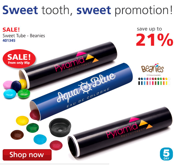 Sweet tooth, sweet promotion! Save up to 21% off the Sweet Tube - Beanies 302128 on SALE! From only 95p 5 DAY Shop now