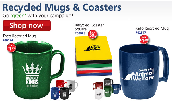 Recycled Mugs & Coasters: Go 'green' with your campaign! Theo Recycled Mug 700124 from £1.25; Recycled Coaster Square 700985 from 59p; Kafo Recycled Mug 702817 from £1.49 Shop now